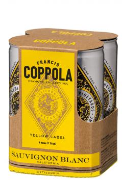 Rượu vang lon Francis Coppola Sauvignon Blanc Yellow Label Diamond Collection Can 4 pack 250 ml